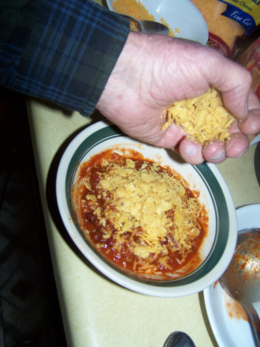 Here I show the home made chili almost ready to serve.