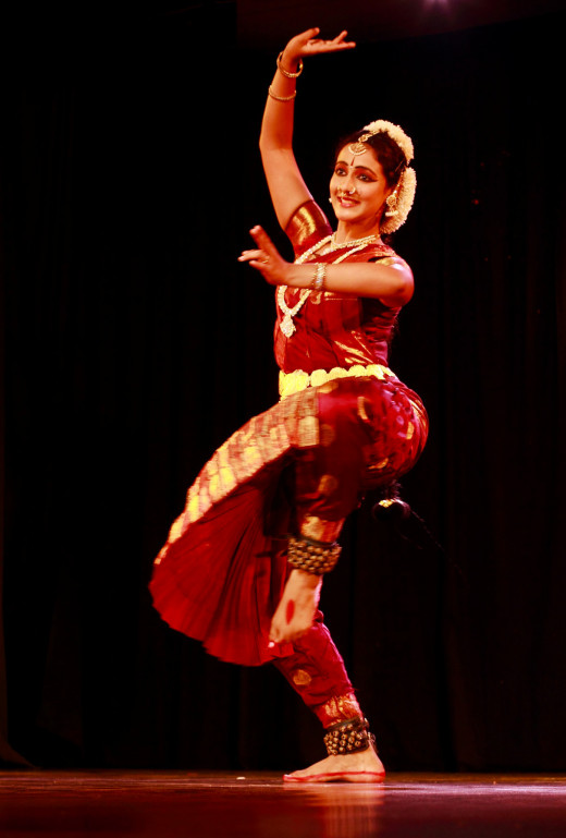A Bharatanatyam Dancer Performing On Stage.
