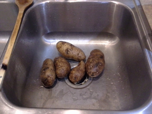 Step One: Wash 3-4 medium potatoes; I used 5 because some of mine were smaller