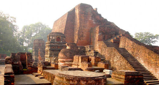 Ruins Of The Nalanda University In Bihar.