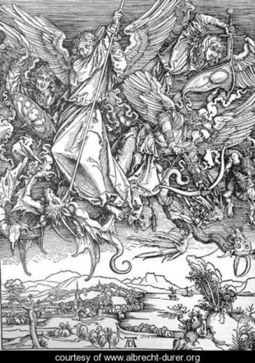 St Michael and his Angels Fight the Dragon Fight, Albrecht Durer (1471-1528)