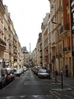 View of rue Lantiez with the Eiffel Tower in the background