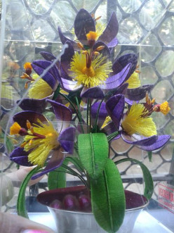 Artificial flowers of thread garden in Ooty, Tamil Nadu, India