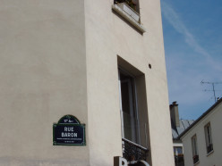 Rue Baron street sign, Paris