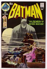 The cover to Batman # 227, Batman goes dark and brooding again.