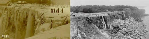 1911 -- the flow of the water completely stopped due to an ice jam. 1969 -- the flow of the water was completely stopped for the purpose of removing rocks which they never went through.