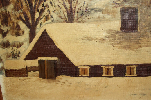 This is a picture of my Uncle Ervin's sugar shanty that Grandma Rood painted back in the 1980s after a snow storm.