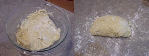 Step Six: Mix with a spoon until thick and then continue with your hands, Step Seven: Once pretty well mixed, pour onto floured surface