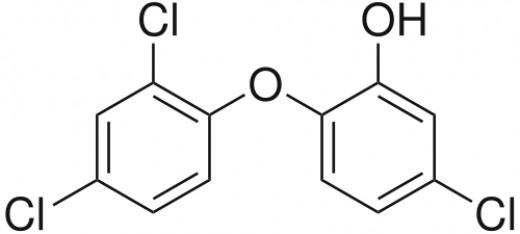 Triclosan molecule diagram