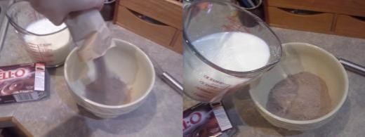 Step Twenty: Pour your pudding mix into your bowl, Step Twenty-one: Add your milk to the bowl