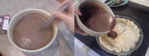 Step Twenty-two: Mix vigorously to break up any lumps, Step Twenty-three: Pour into your cooled pie crust