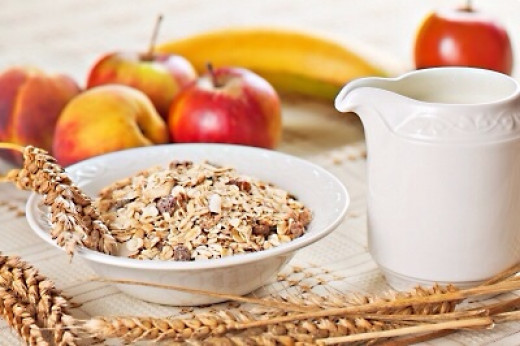 Muesli and fruit; oats are a good source of soluble fiber