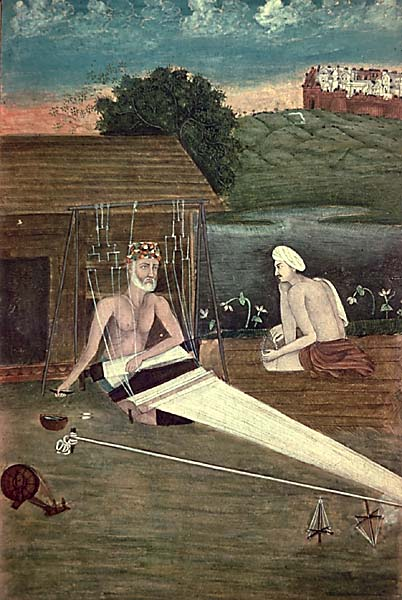A 1825 CE painting depicts Kabir with a disciple