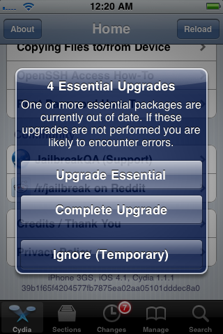 Always do so when prompted to upgrade Cydia
