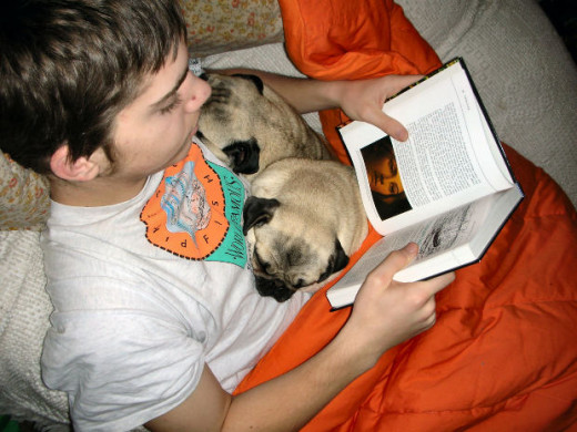 Reading books can be a family pastime. Even the pets can participate.