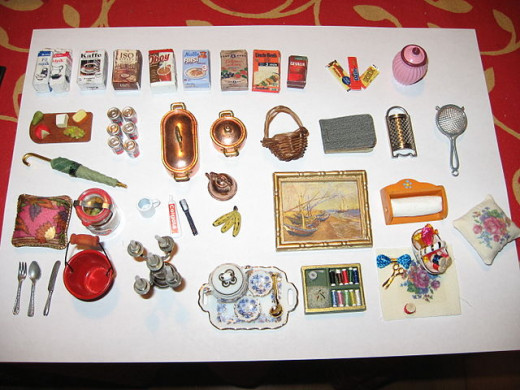 The items designed for various rooms of the dollhouse are tiny replicates of real life items. There is a lot of detail also included in their production.