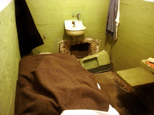 The prison cell where Frank Morris dug a hole and escaped. He planned his escape and worked at doing it for years before carrying it out.