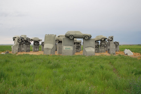 The bland looking Carhenge in Nebraska