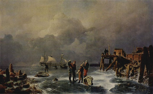 Bank of Frozen Sea (Winter Landscape) was painted in 1839 by Andreas Achenbach (1815-1910).