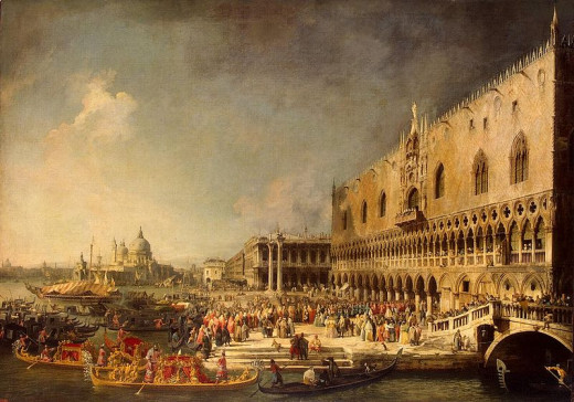 Reception of a French Ambassador in Venice was painted by Canaletto (1697-1768) circa 1740.