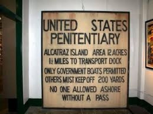 Alcatraz Island is 12 acres in size and has guard towers located all over. You can see nothing but water surrounding you on every side as well.