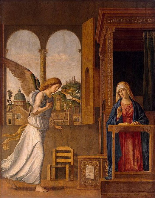 The Annunciation was painted by Cima da Conegliano (1460-1518) in 1495. This photograph of the painting was taken in December 2008—before the painting's restoration, which was completed in 2011.