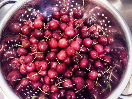 Step One: Wash your fresh cherries