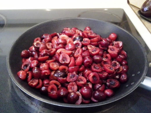 This is two full bags of cherries cut and pitted. This should be just enough.