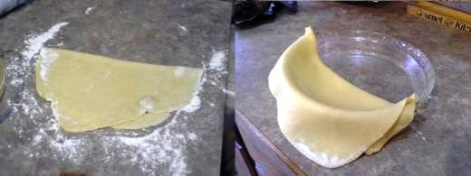 Step Ten: I fold my crust to transfer it over to my pie dish, Step Eleven: Transfer crust over