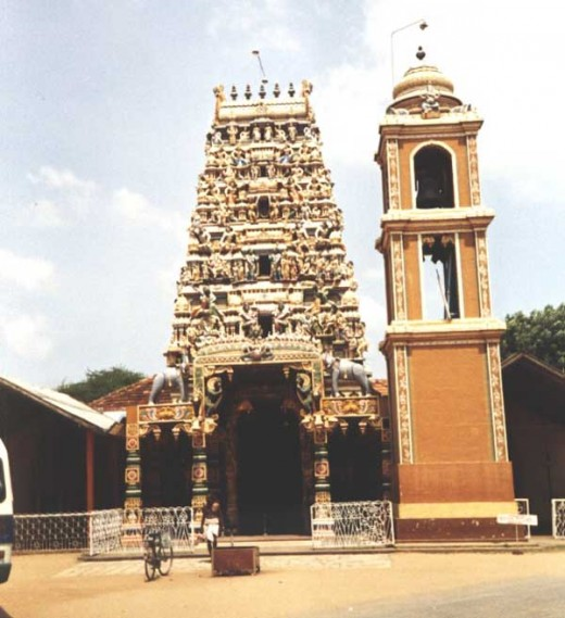 A Hindu Temple in Inuvil Compare the Bell Tower with previous photograph of the Church.