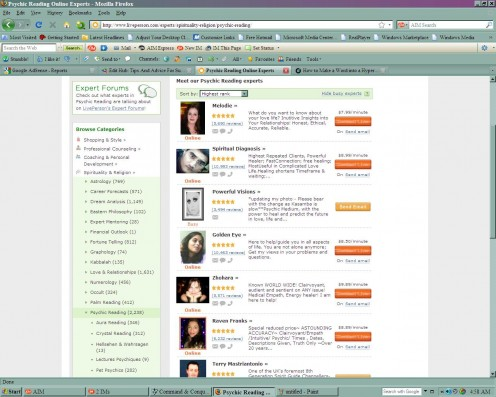 This is an example of a flooded market (Psychic Readings), with over 2,238 experts! Way too many!