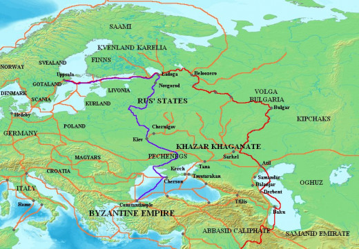 Varangian routes through the east from Scandinavia