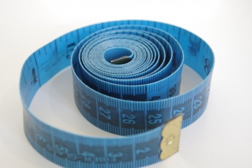 A blue tape measure.