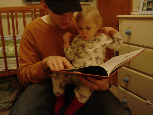 Reading a new book with a young child is a great way to spend part of a holiday.