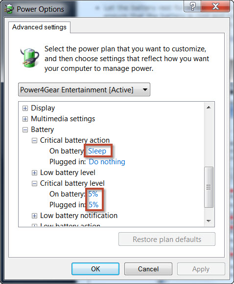 Step 3 - Windows Advanced Power Options