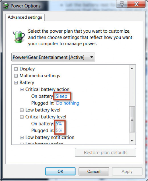 Step 3 - Windows Advanced Power Options