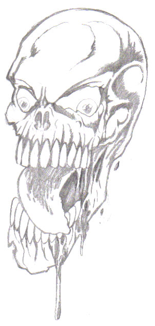 Pencilled skull drawing, drawn as a potential tattoo, just needed inking.