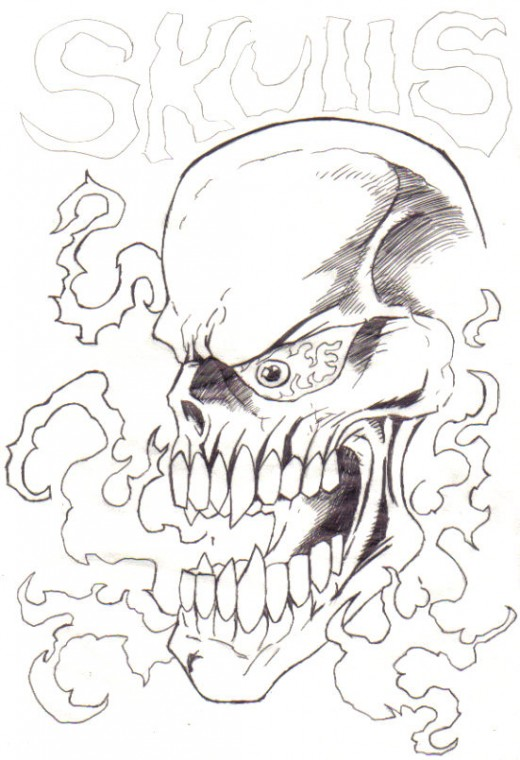Flaming Skull concept drawing. Nearly finished a coloured version of this skull.