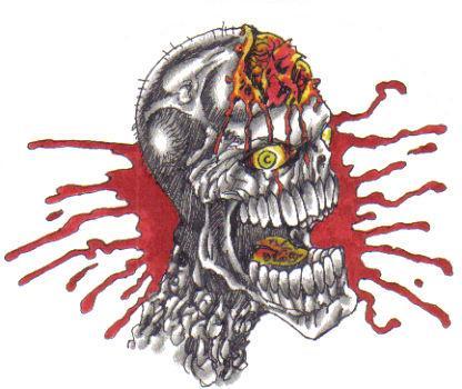 Splattered skull tattoo design.