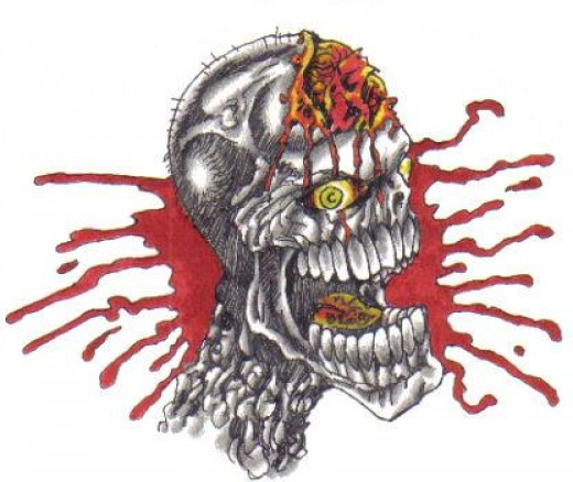 Splattered skull tattoo design.