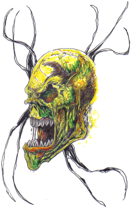 Screaming skull with wire twisted through it's other eye socket which you cannot see.