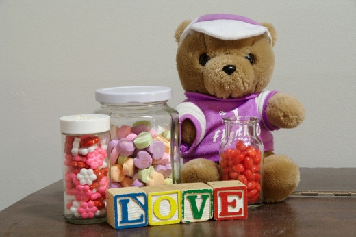 Any kind of Valentine's Candy in a jar makes a cute gift for people you love!