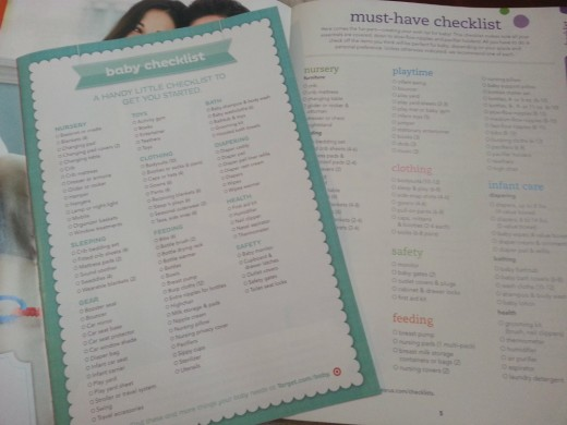 Stores provide checklists when expectant parents create a registry.