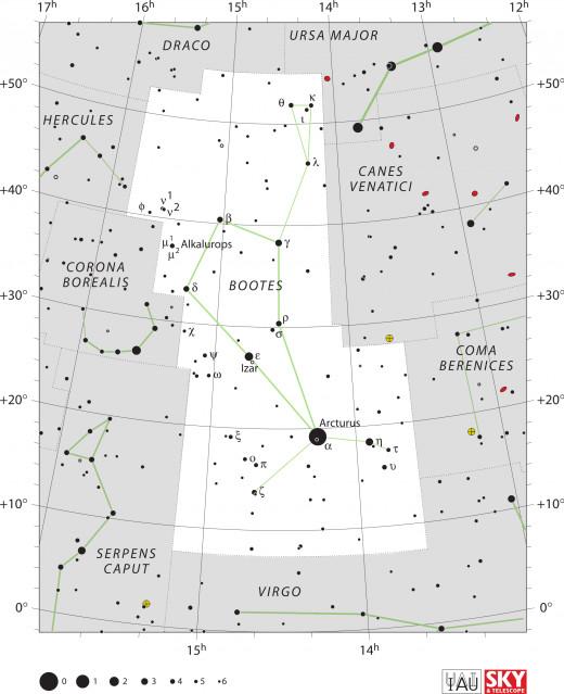 The constellation as it appears in a modern sky atlas.