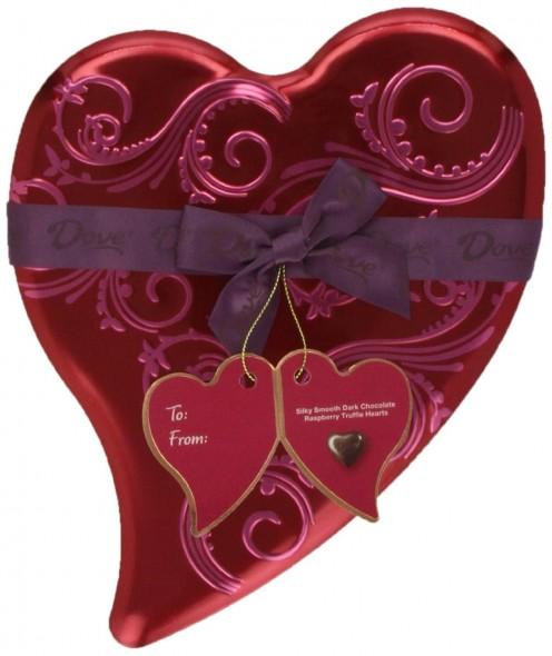Dove Valentine's Truffle Hearts, Dark Chocolate Raspberry, 6.5-Ounce Heart Tin