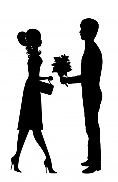 A black and white image of a man handing his wife flowers.
