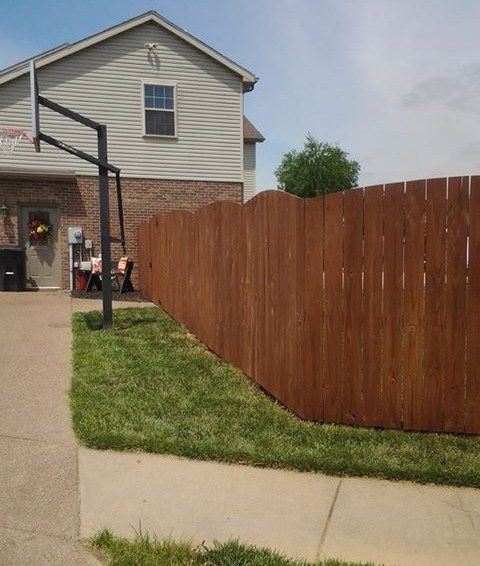 Freshly stained wood fence, in Evansville, Indiana!