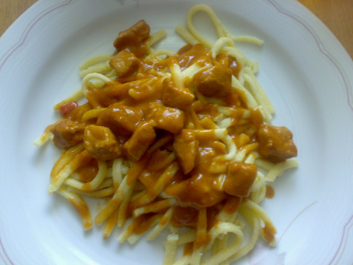 You can serve goulash with noodles, green beans, bread, pasta or rice