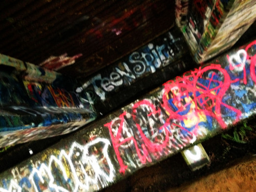 This is just some of the graffiti left by Kurt's fans that visited the bridge.