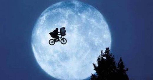 An iconic scene: E.T. and Elliot in flight